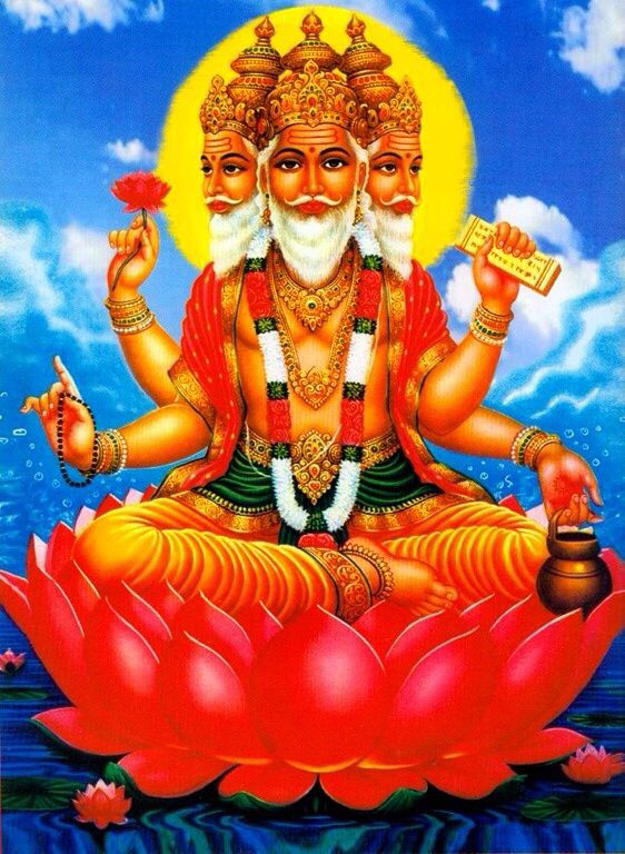 Brahma is the first god in the Hindu triumvirate. The triumvirate has three gods that are responsible for creation, upkeep, and destruction of the world. The other two gods in the triumvirate are Vishnu and Shiva. Brahma has four heads, four arms, and a beard.