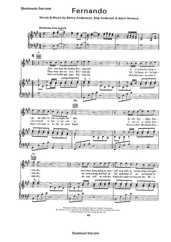 Fernando Sheet Music Abba Music School Piano Sheet