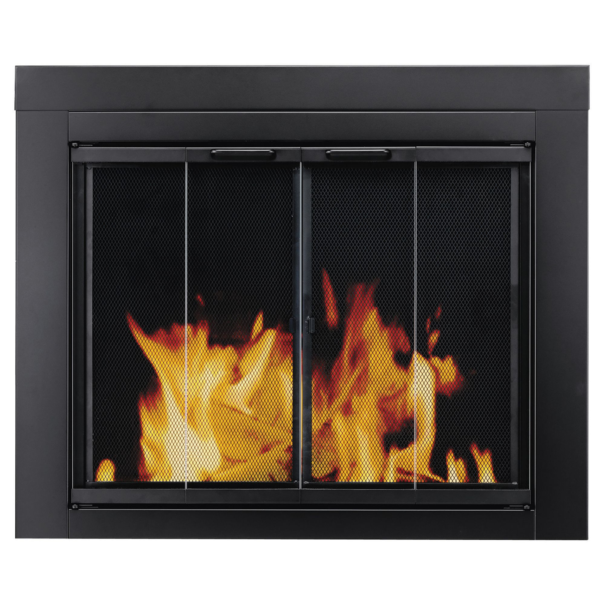Pleasant Hearth Ascot Black Fireplace Glass Doors Medium