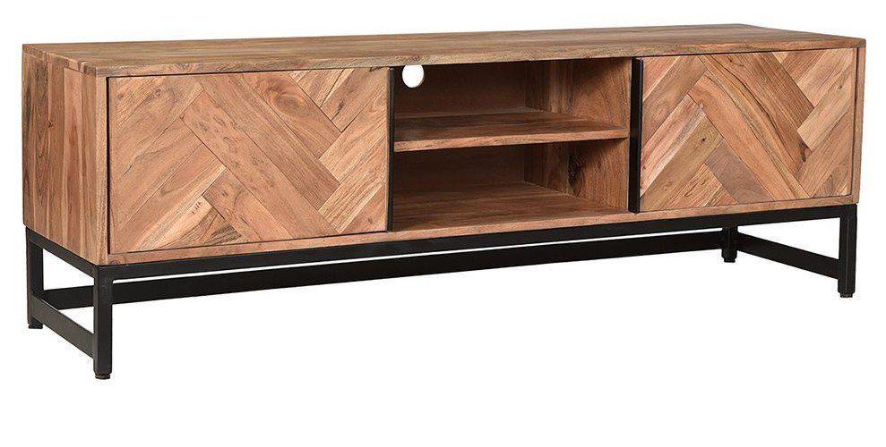 Meuble Tv Stick En Acacia Et Metal Noir Pas Cher Decoration Maison Mobilier De Salon Miliboo