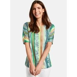 Photo of Gerry Weber 1/2 arm shirt with burnout look Green / Blue Patterned ladies Gerry Weber