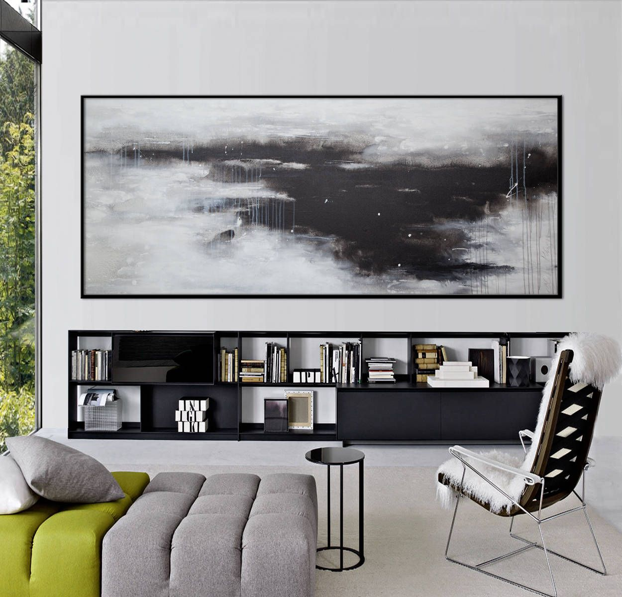 Extra large abstract paintingoriginal acrylic black white landscape