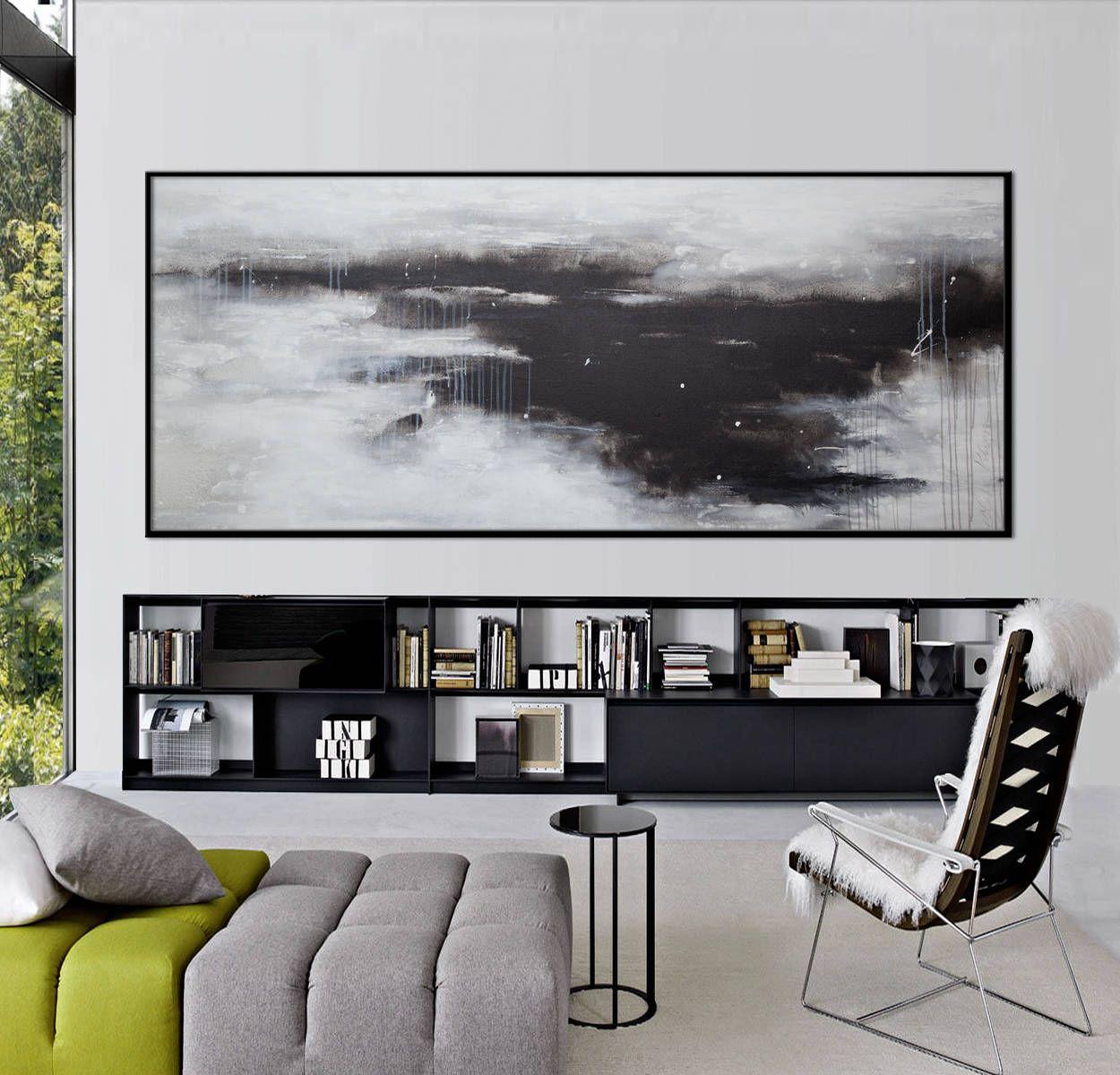 Extra large abstract paintingoriginal acrylic black white landscape