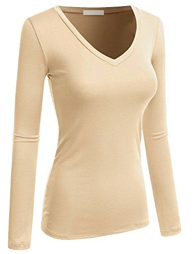 5490dcaf Emmalise Women's Casual Basic V-Neck Tshirt Long Sleeves Tee Top - Junior  and Plus