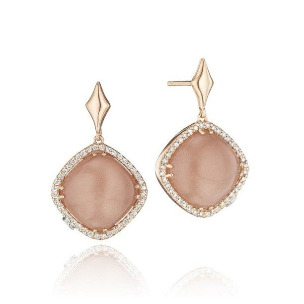 Blushing beauty! Delicate peach moonstone is nestled within blushing rose gold and diamonds for a luxuriously feminine look. Versatile enough for day and night!