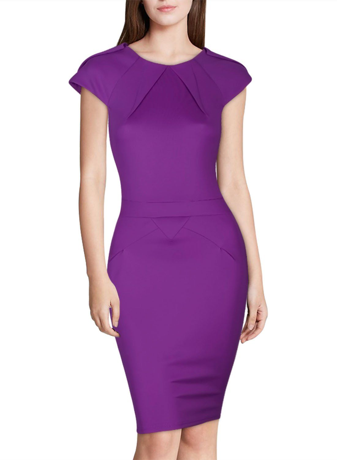 Miusol Women\'s Scoop Neck Fitted Offical Midi Bodycon Dress, Light ...