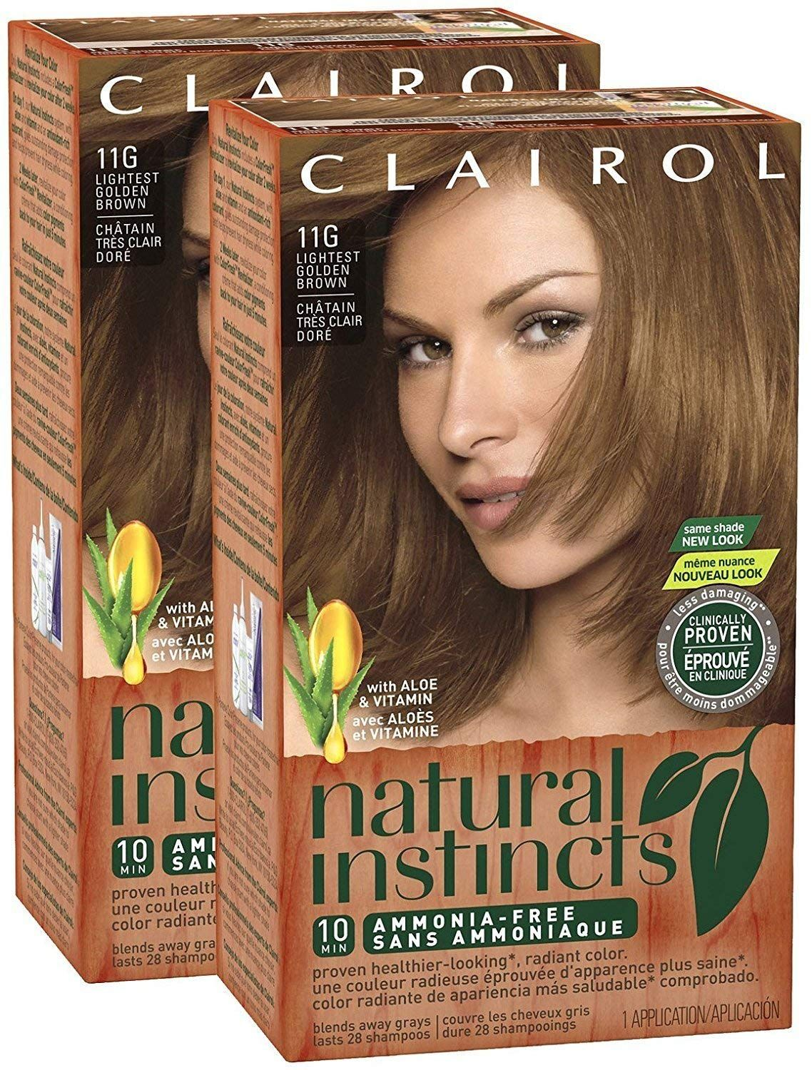 Clairol Natural Instincts 011g Amber Shimmer Lightest Golden Brown 2 Pk Continue To The Pr Clairol Natural Instincts Clairol Natural At Home Hair Color