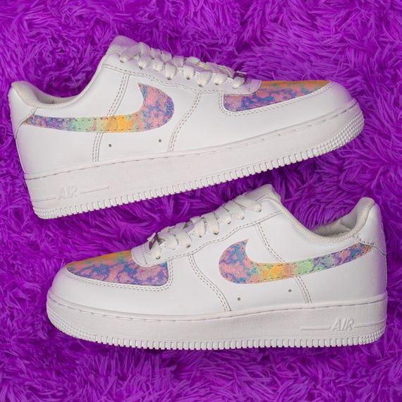Tie Dye Rainbow AF1 Neon Glitter Shoes Glitter AF1 Glitter Nike ...