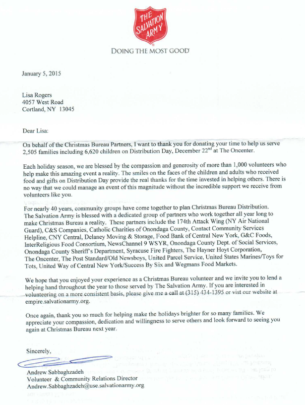 a thank you letter from the salvation army
