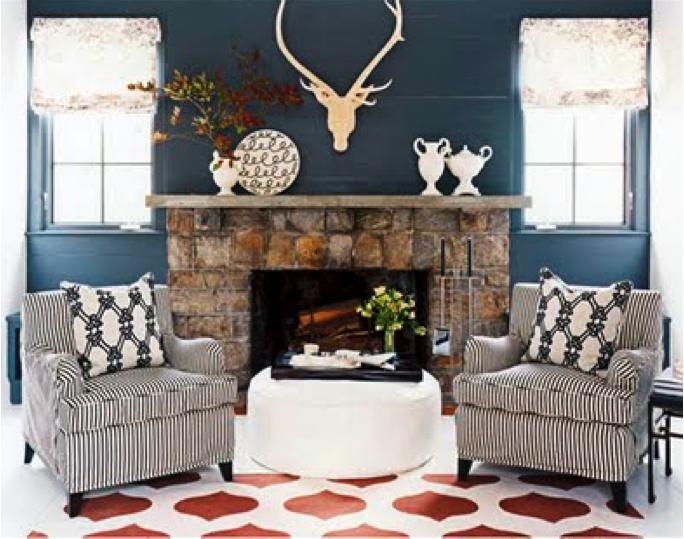 Best Dark Blue Walls Rustic Living Room Blue Rooms 400 x 300