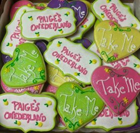 """Alice in Wonderland"" theme party, Onederland sugar cookies, babies first birthday."