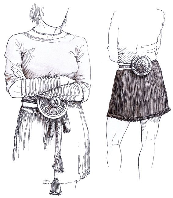 Kvindesmykker, bælteskive og bæltedåse u2013 Frauenschmuck, Gürtel - b den f r k che