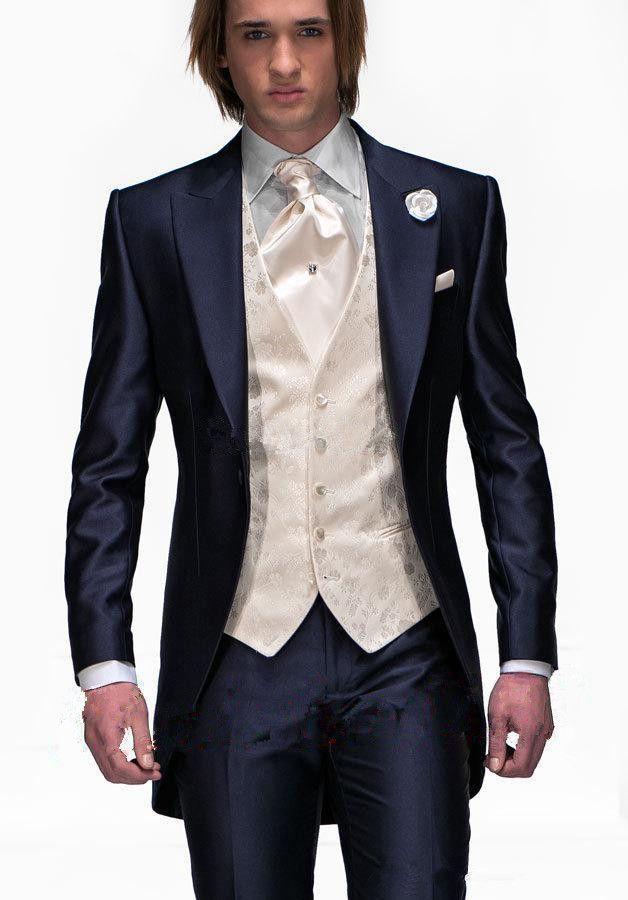 Buy Groomsmen Tuxedo Suit Custom Made Slim Fit Wedding Suit 3 ...