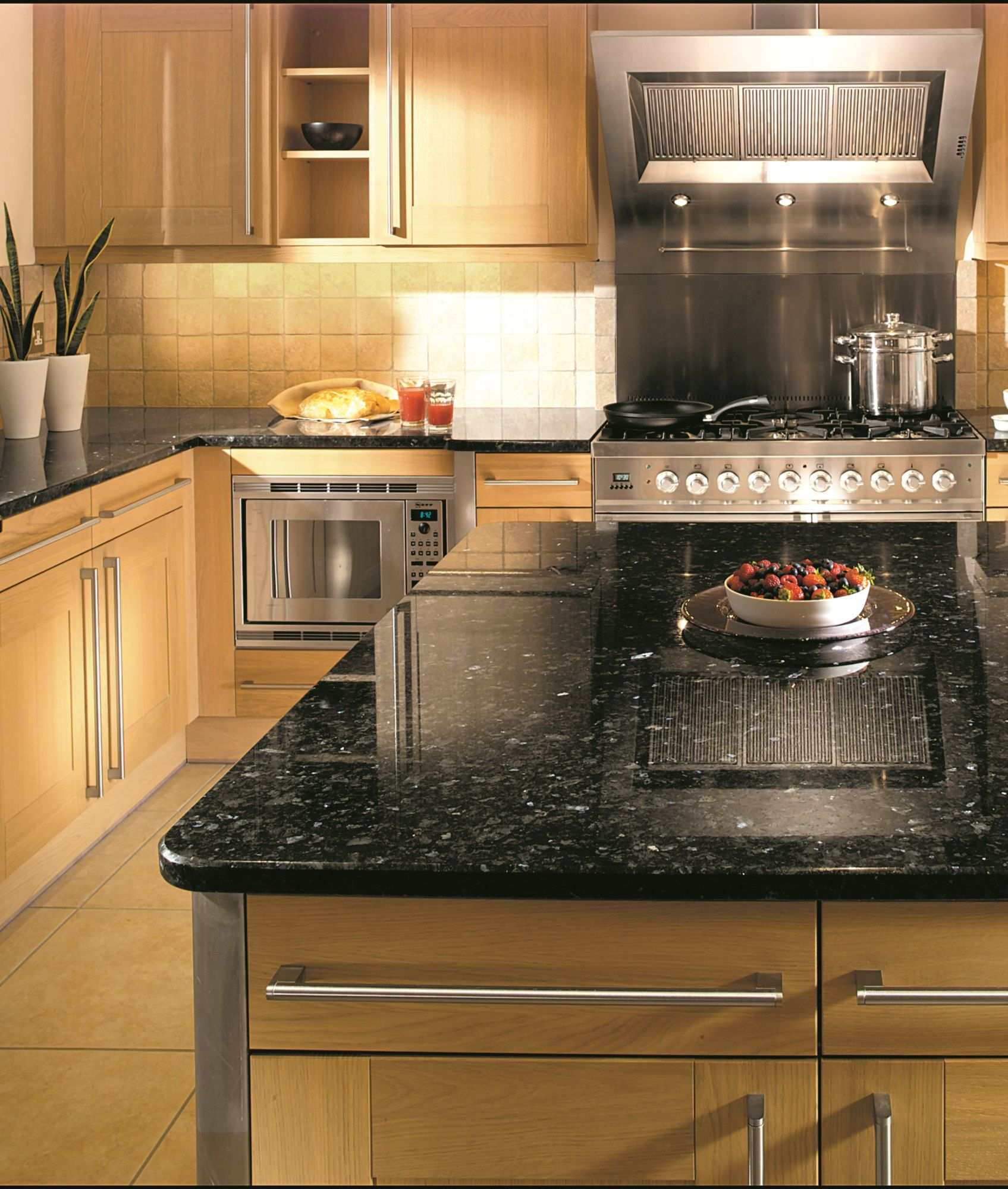 Kitchen Marble Worktops: Granite Kitchen Worktop By Landford Stone. Material Is Emerald Pearl (granite) With A Chamfer