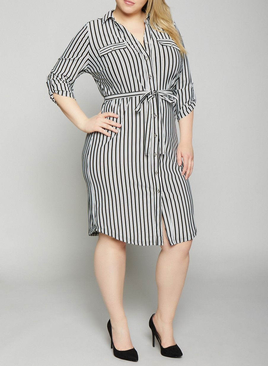 Plus Size Belted Striped Shirt Dress | Products in 2019 ...