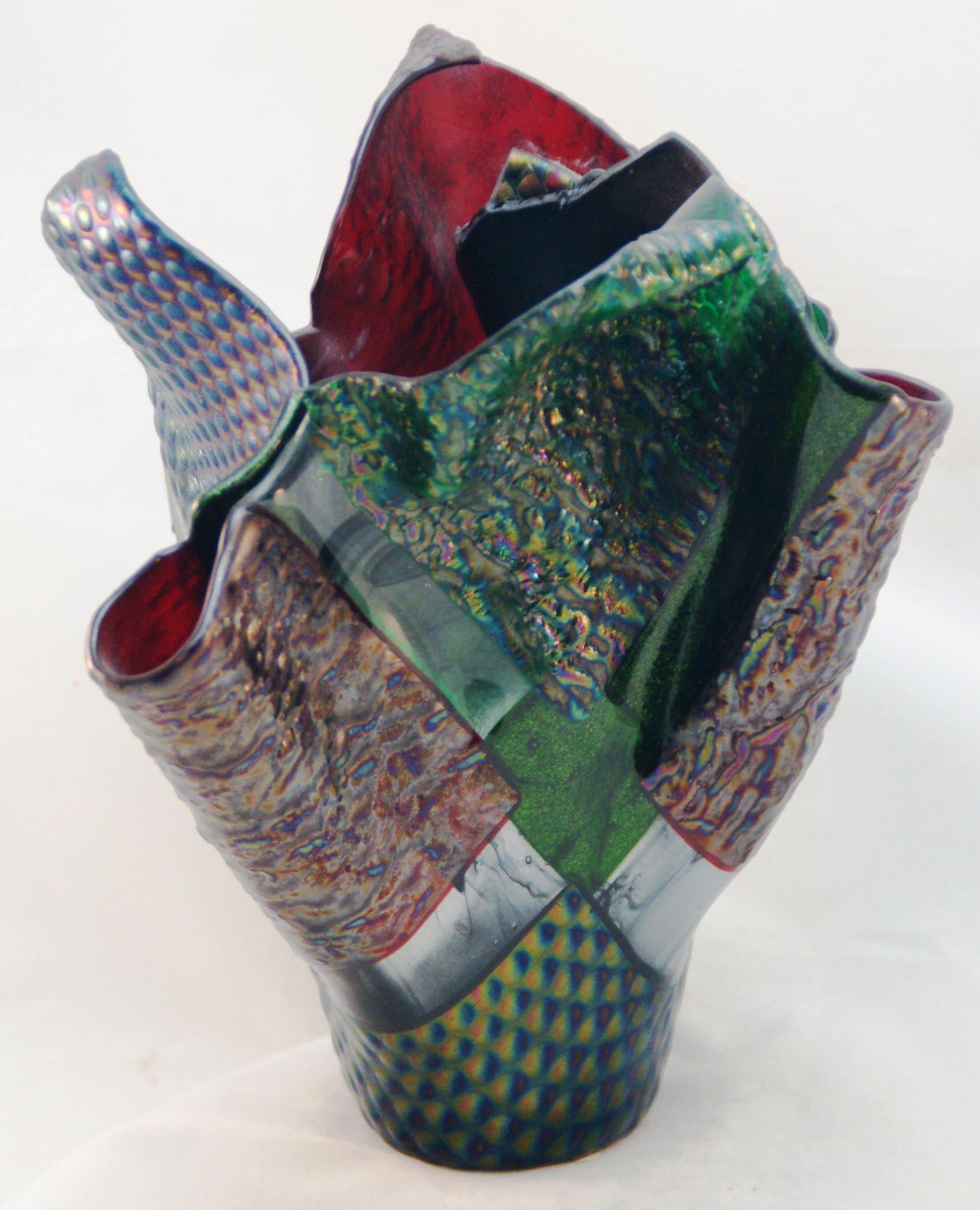 Fused glass vases fused glass glass vase decor glass vase
