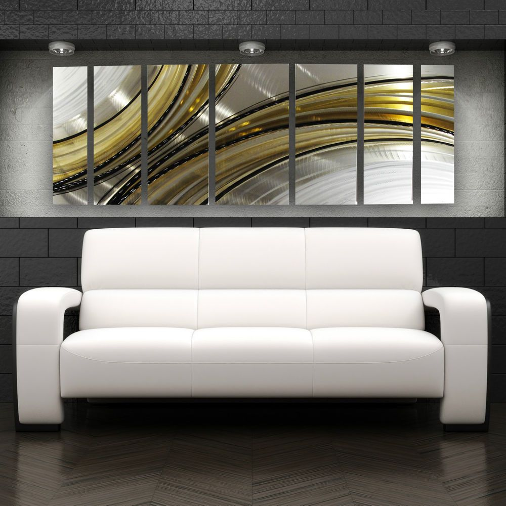 Large Metal Wall Art Panels Abstract Modern Silver Gold Painting ...