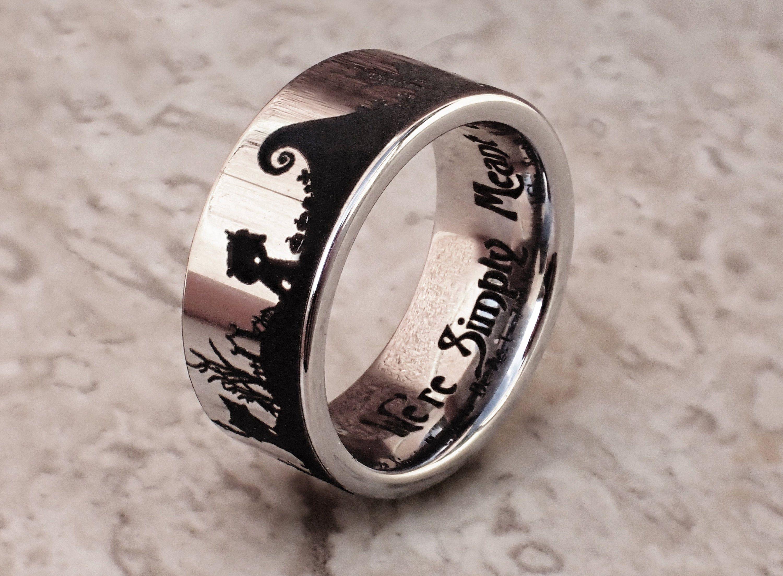 Nightmare Before Christmas Wedding Ring Jack Skellington Wedding Band Halloween In 2020 Wedding Rings Online Christmas Wedding Ring Nightmare Before Christmas Rings