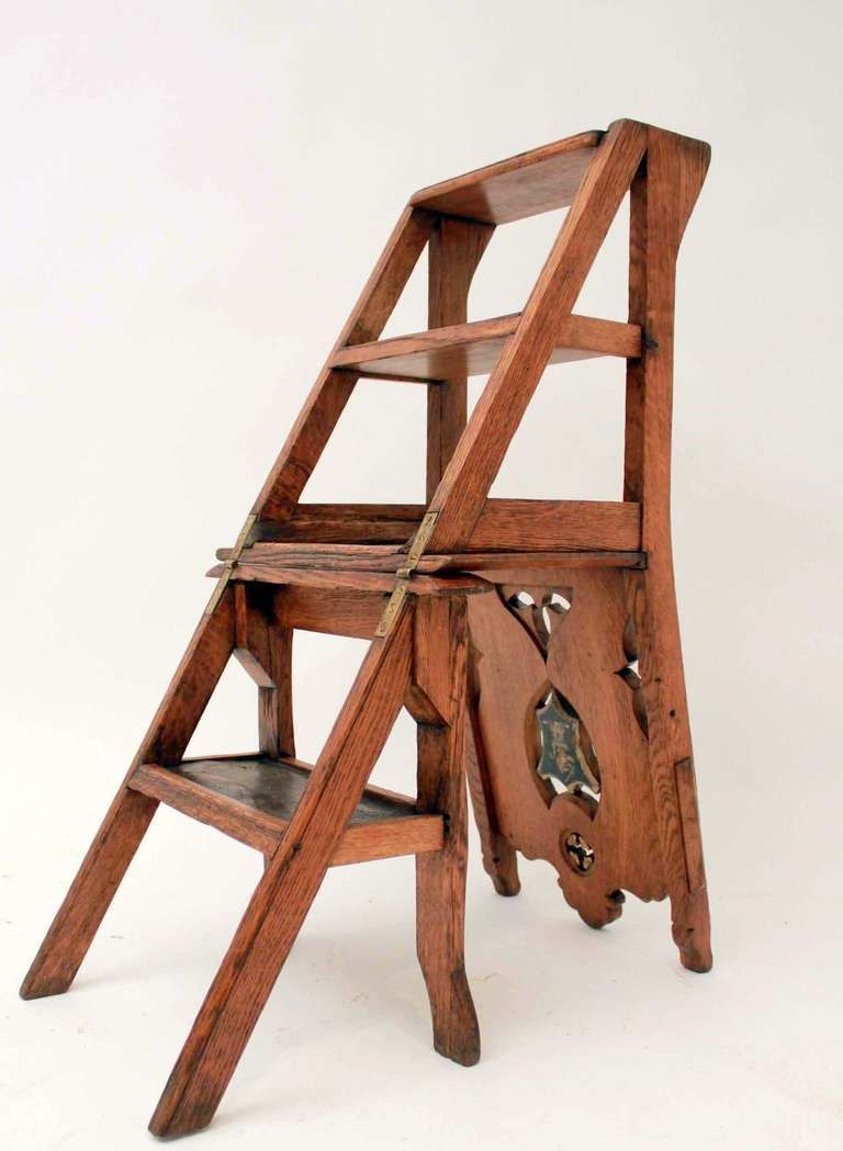 19th Century Metamorphic Library Chair 1stdibs Com Chair Woodworking Plans Woodworking Cabinets Handmade Furniture
