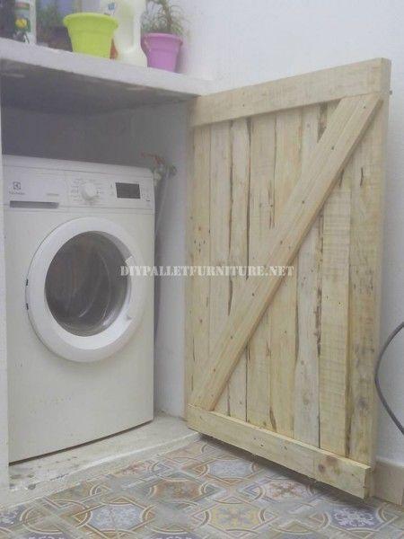 Porte Pour Cacher La Machine A Laver Faite Avec Palettes Planches Meuble Machine A Laver Machine A Laver Mobilier De Salon