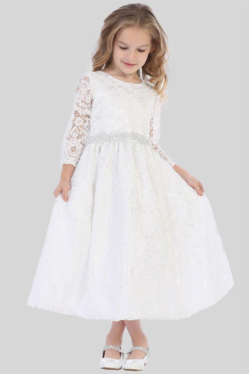 8180229dcf7e4 Swea Pea & Lilli SP156 White Lace w/ Silver Corded Floral Trim ...
