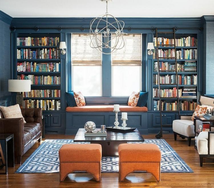 idée de déco de salon bleu avec bibliothèque | Idee deco ...