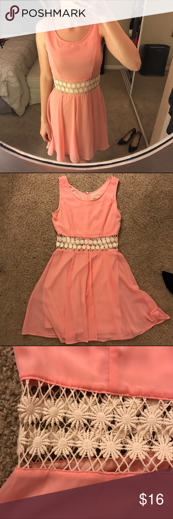 Pink cut out dress  BLACK FRIDAY SALEPink Flowy Flower Cut Out Dress  Knit flowers
