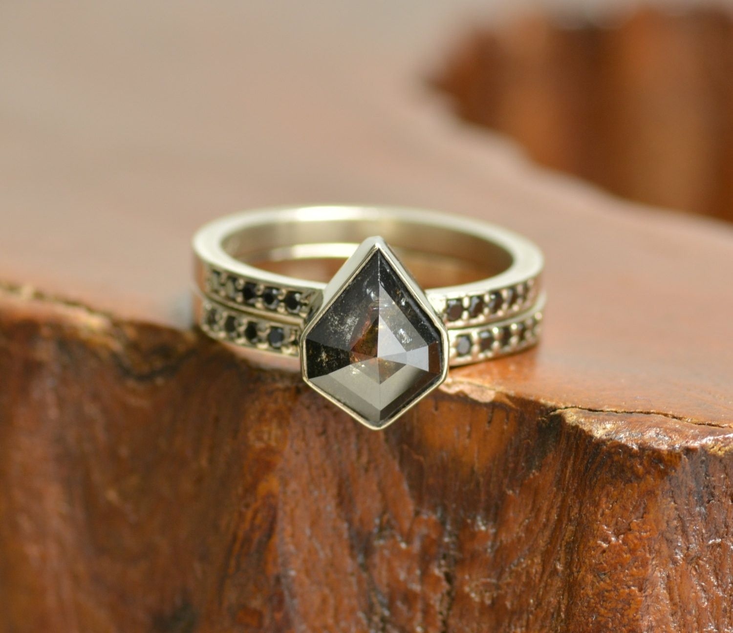 The kite Love this gem Geometric Black Diamond Engagement Ring