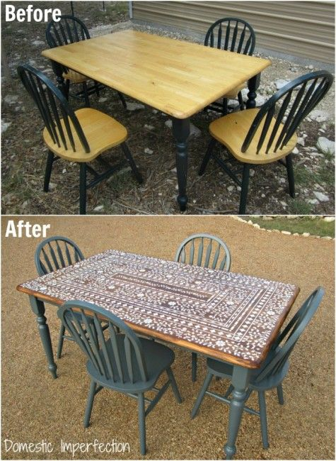 Table stenciled to look like bone inlay...this is a great way to get the look without spending a ton of money on the real thing! Full tutorial if you click through the link.