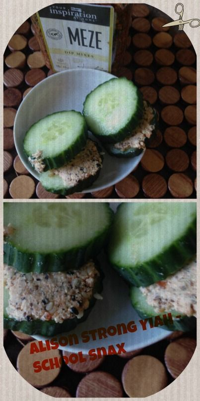 Cucumber sandwiches - a favourite for my 11 year old daughter - add your favourite YIAH dip mix to cream cheese & spread between cucumber slices - great for lunch boxes!