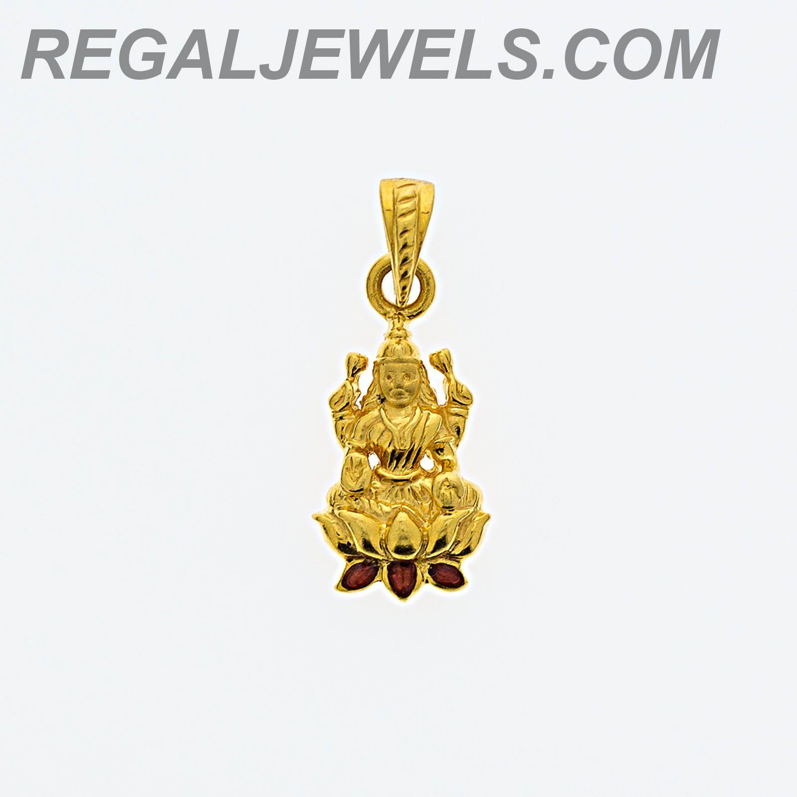 Regal Jewels Online  22Kt Gold Lakshmi Pendant With Hand