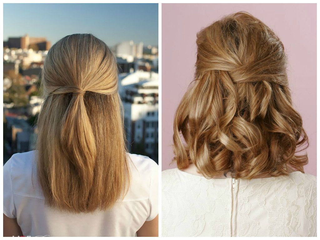 bridesmaid-hairstyles-medium-length-hair-simple-half-up-half-down