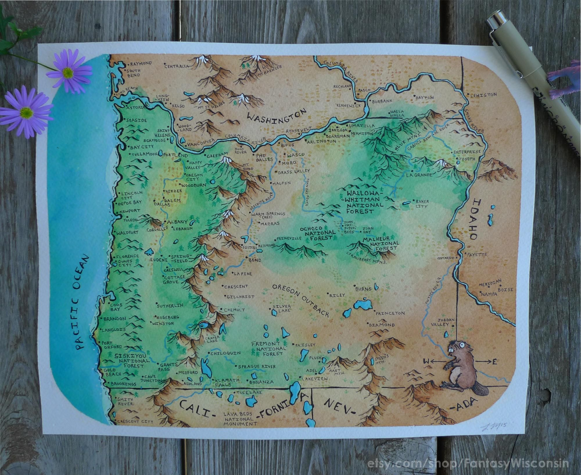 Fantasy style map of Oregon by Levi