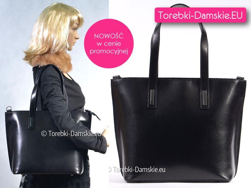 94dd72d0e4a3c Najnowszy model - czarna skórzana torebka damska dużej wielkości (mieści  format A4). Oryginalny produkt włoski. Z przodu ozdobne niewielkie metalowe  ...