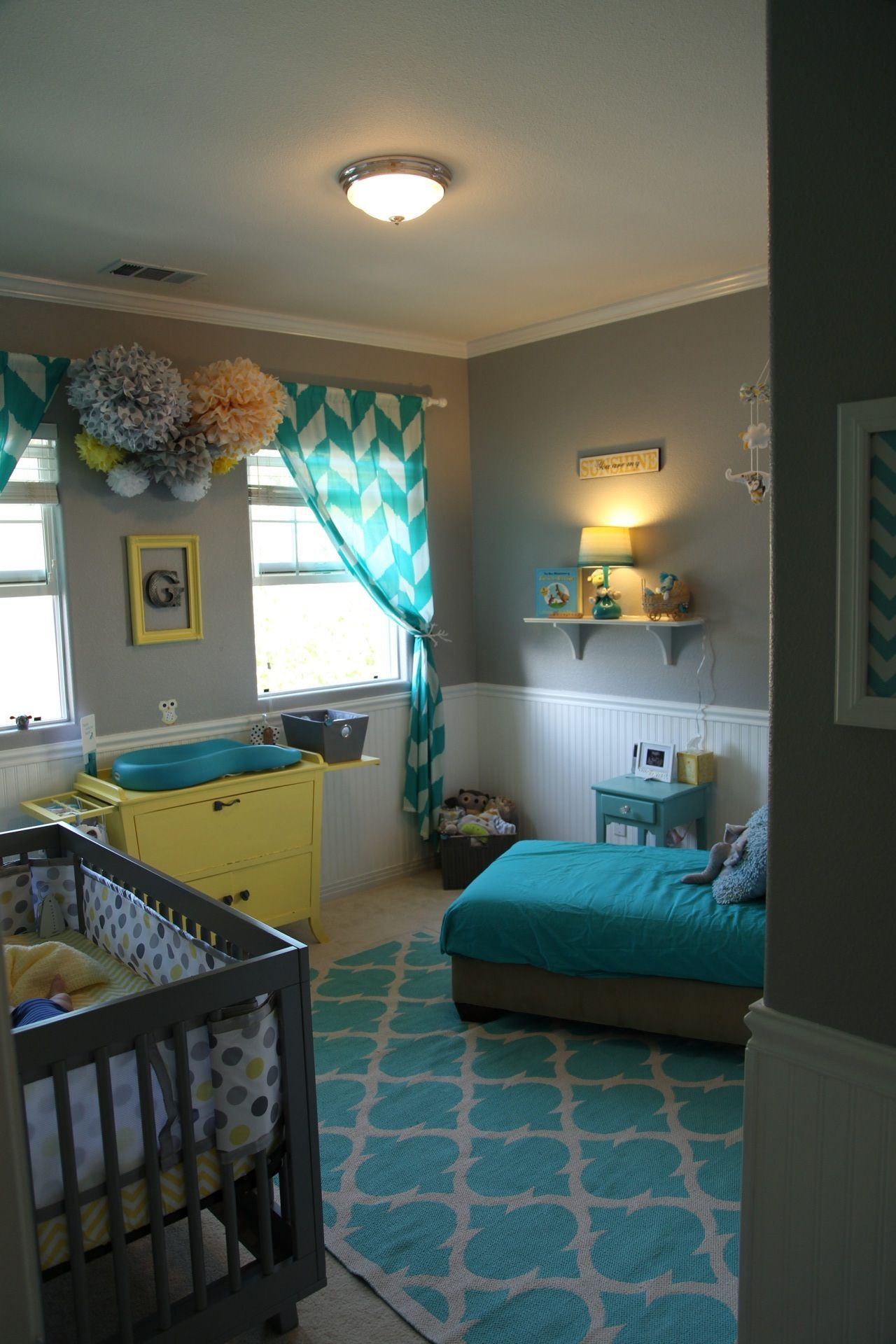 Baby Boy Room Mural Ideas: Baby Room, Nursery, Teal Nursery, Yellow Nursery, Grey