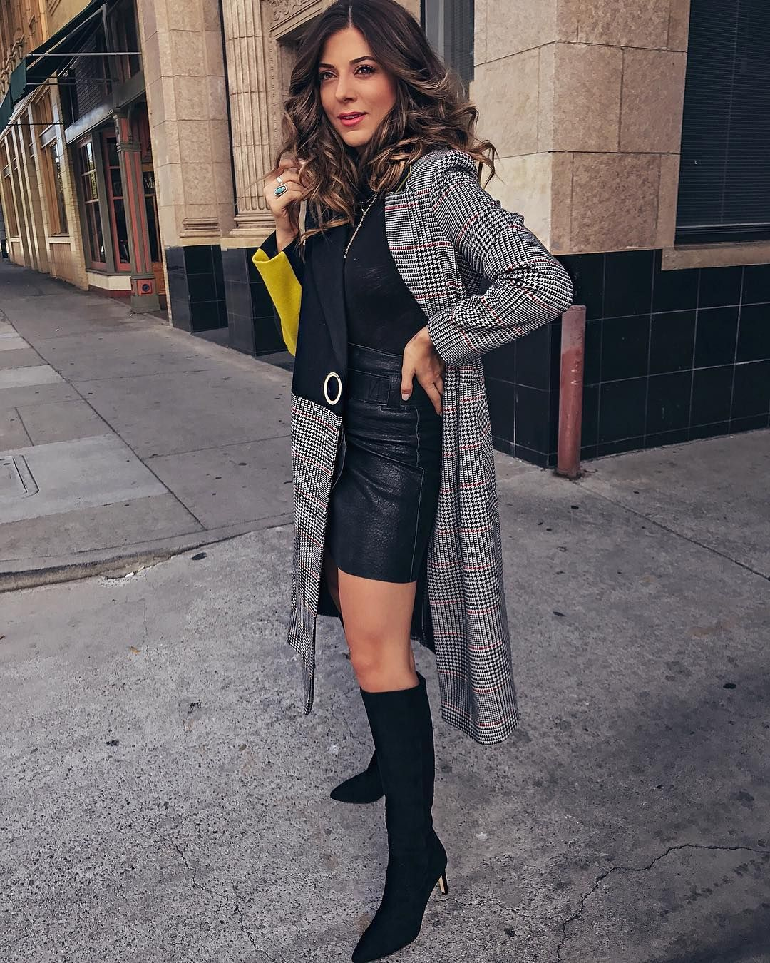 Lillian B Aka Studs Sapphires Rocking Our Olencia Heeled Boot Black Knee High Boots Outfit High Knee Boots Outfit Sam Edelman Boots