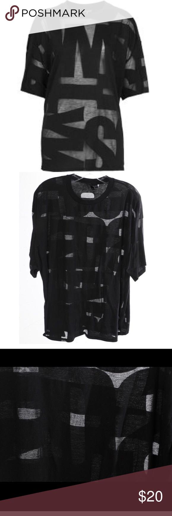 Rare Topshop Burnout Letters TShirt Sheer Black  Sheer Material