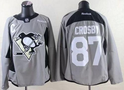 "$34.88 at ""MaryJersey"" (maryjerseyelway@gmail.com) #87 Sidney Crosby - Penguins Grey Practice Stitched NHL Jersey"