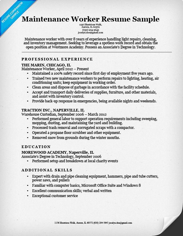Resume Examples Maintenance Resume Templates