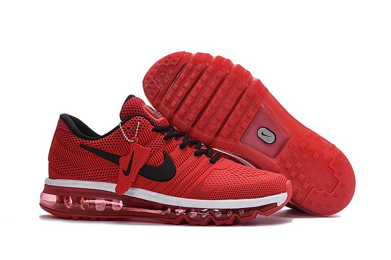 Nike Air Max 2017 Leather Red Black White Running Shoes