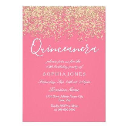 Pink Gold Glitter Confetti Quinceanera Invitation - #gold #glitter - confeti