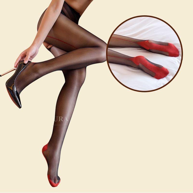 68bb86c1d56 Sexy Cuban Heel + Back Seam Sheer Nylon crotchless Pantyhose