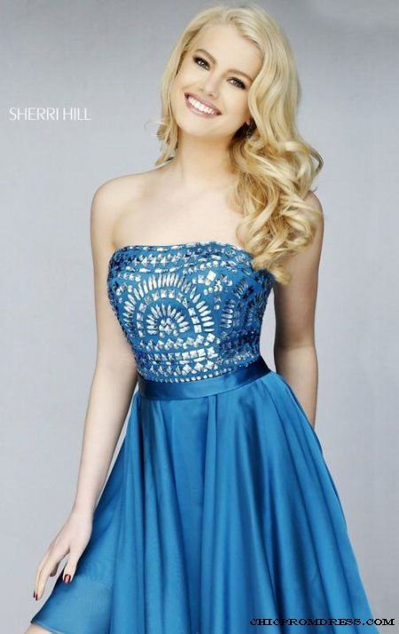 Sherri Hill 1961 Peacock Beaded Short Homecoming Dress Sale