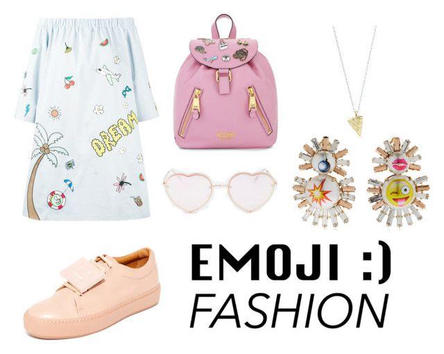 """EMOJI"" by victoriavvg on Polyvore featuring moda, Mira Mikati, Bijoux de Famille, Rock 'N Rose, Acne Studios, Moschino y Torrid"