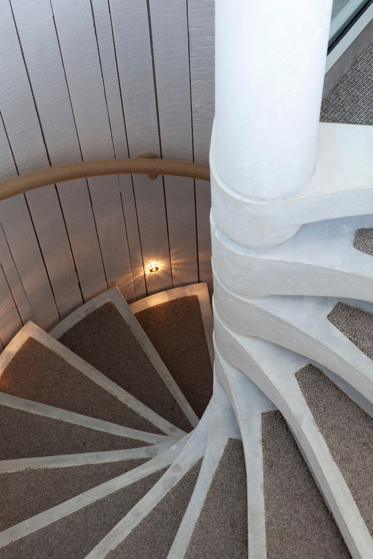 Best Concrete Spiral Staircase With Carpet Inlay To The Treads 400 x 300