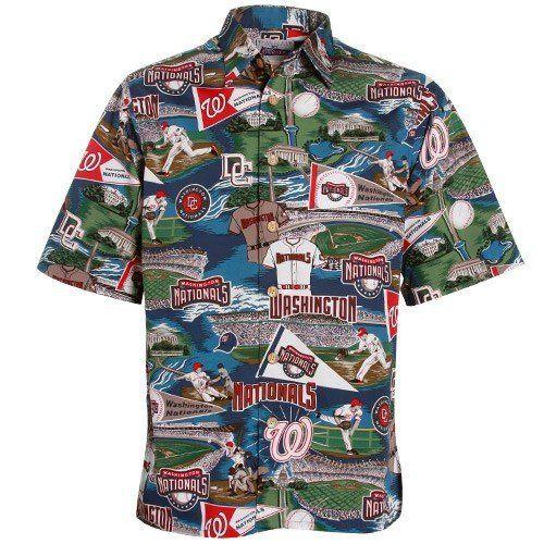 92a8b220 Reyn Spooner Washington Nationals Multi Scenic Print Hawaiian Shirt ...