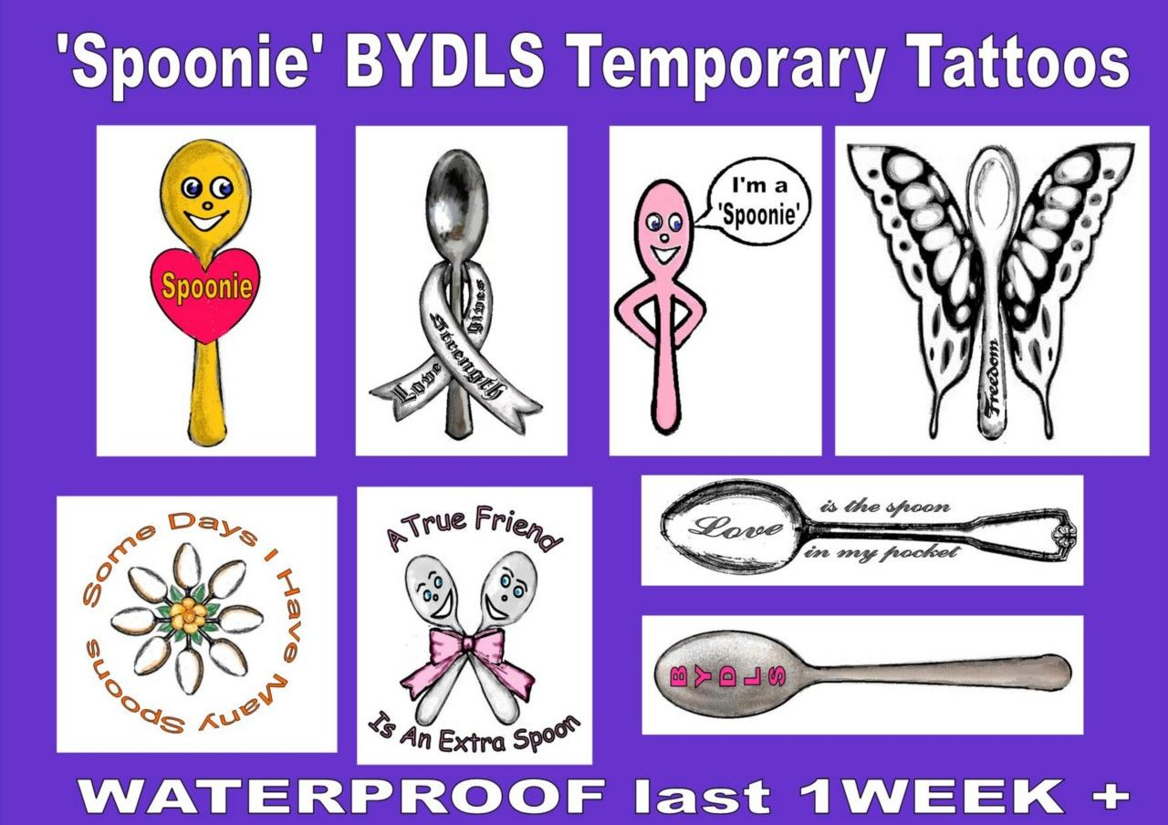 Spoonie Spoons Temporary Tattoos But You Don'T Look Sick Bydls Spoon Theory New | eBay