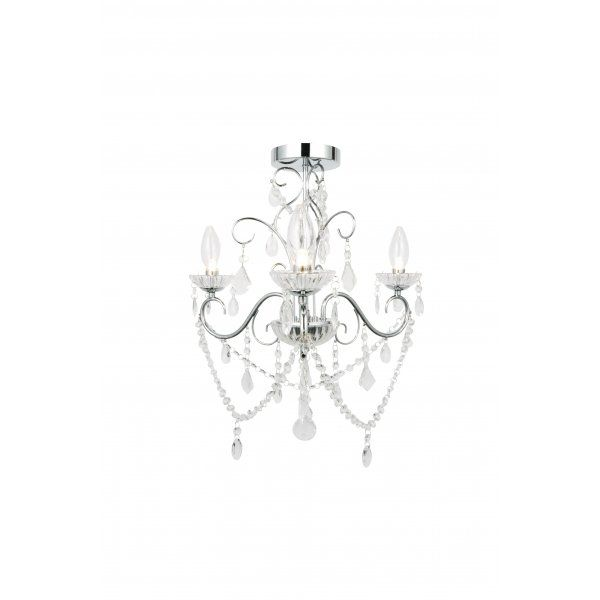Forum Lighting Vela 3 Light Semi-Flush Bathroom Chandelier in Polished Chrome with Glass Detail - Forum Lighting from Castlegate Lights UK