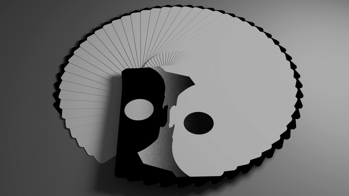 Fanned one way, the deck is all blank…