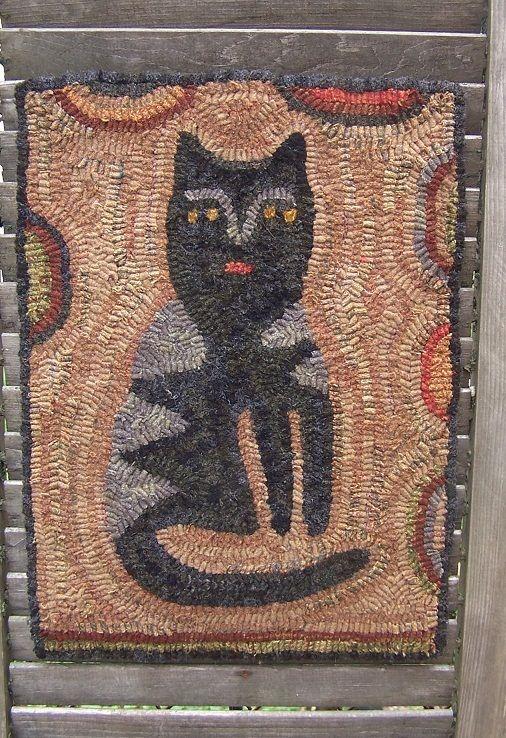 Primitive FolkArt Hooked Cat Rug